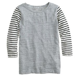 J Crew Stripe-sleeve T-shirt